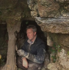 141109 - Alan Bishop at work in the Grotto at Abberley Hall